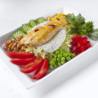 Grilled chicken breast and vegetable salad — Stock Photo #20129401