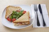 A deliciou chicken sandiwch on plate — Stock Photo