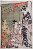Tea ceremony. traditional japanese engraving ukiyo-e — Stock Photo