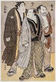Katsukawa Shunko. Three actors — Stock Photo