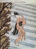 Suzuki Harunobu. Geisha. Traditional japanese engraving — Stock Photo