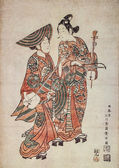 Suzuki Huranobu. Street musicians. Traditional japanese engraving Ukiyo-e — Stock Photo