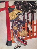 Suzuki Harunobu. Woman in the night. Japanese engraving. — Stock Photo