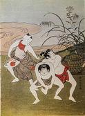 Suzuki harunobu. sumo děti. tradiční japonské gravírování ukijo e — Stock fotografie