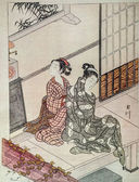 Eight Views. The Evening Bell - Suzuki Harunobu. Japanese engraving. — Zdjęcie stockowe