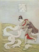 Suzuki harunobu. gejša. — Stock fotografie