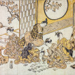 Torii Kiyomitsu. Having Fun in japanese quarters of 18th century. Traditional japanese engraving ukiyo-e. — Stock Photo