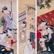 Scenes from geishas life. Traditional japanese engraving ukiyo-e. — Stock Photo