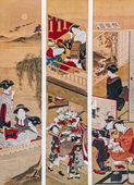 Katsukawa Shunsho. Activities of Women in Japan in the 18th Century — Stock Photo