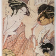 Hosoda Eishi. Beauties of the Pleasure Quarters (Seiro bijin awase): Kisegawa of the Matsubaya with Attendants Onami and Menami — Stock Photo