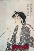 Woman Exhaling Smoke from a Pipe: from the series Fujo ninso juppon(Ten Types in the Physiognomic Study of Women) — Zdjęcie stockowe