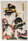 Kitagawa Utamaro. Beauties putting make up. Traditional japanese engraving ukiyo-e. — Stock Photo