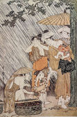 Kitagawa Utamaro. Shower. Traditional japanese engraving ukiyo-e. — Stock Photo