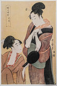 Kabuki actor and escort charms a client with agreeable conversation. — Stock Photo