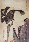 "Kitagawa Utamaro. Reflective Love, from the series ""Anthology of Poems: The Love Section (Kasen koi no bu) (Mono-omou koi)"" — Foto de Stock"
