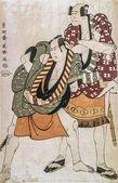 Toshusai sharaku, aktörer arashi ryuzo ii och otani iii hiroyi i rollerna som betjänter ukiyo ingen matahei och tosa ingen matahei. — Stockfoto