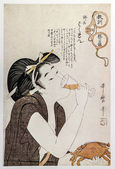 Japanese Domestic Scene. Kitagawa Utamaro. Traditional japanese engraving ukiyo-e. — Stock Photo