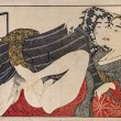 Stock Photo: KitagawUtamaro. Erotic japanese engraving shunga.