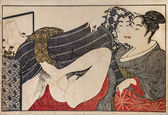 Kitagawa Utamaro. Erotic japanese engraving shunga. — Stock Photo