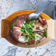 Tom yum noodle soup. Thai style spicy noodle soup - Thai cuisine — Stock Photo