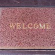 Used welcome carpet mat, welcome doormat carpet on the floor — Stock Photo