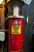 Old and vintage gas station sealed pump pot Ethyl with fuel nozzle — Foto de Stock