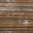 Rusty rebar steel used in construction background texture — Stock Photo