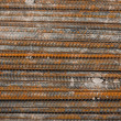 Rusty rebar steel used in construction background texture — Stock Photo #35421843