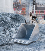 Dirty excavator shovel or bucket at Construction Site — Stock Photo