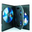 Black Case for DVD Or CD Disk with DVD Or CD Disk isolated on white background - the CD in the package - Black compact disk — Stock Photo #35524831