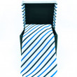 Black box from which hangs a tie white background, isolated - Modern tie in a open box — ストック写真