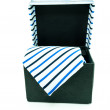 Black box from which hangs a tie white background, isolated - Modern tie in a open box — ストック写真 #35525667