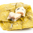 Thai dessert sticky rice with banana isolated on white background — Stock Photo