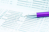 Pen and bank book - Saving Account Passbook with purple pen - Close up of pen point out a personal banking book — Stock Photo