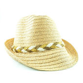 Modern wicker straw hat isolated on white background — Stock Photo