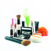 Makeup brush and cosmetics set, on a white background isolated - decorative cosmetics for makeup — Stock Photo
