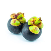 Fresh mangosteen fruit isolated on white background - the tropical purple fruit — Stock Photo