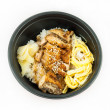 Japanese food rice serves with chicken in Teriyaki sauce — Stockfoto