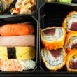 Closeup of sushi in a Japanese Lunch box (Bento) Sushi Bento — Stock Photo