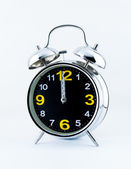 Chrome alarm clock on white background — Stock Photo