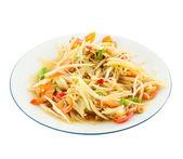 Papaya salad (Som Tam) Thai cuisine spicy delicious on white — Stockfoto