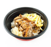 Japanese food rice serves with chicken in Teriyaki sauce — Stock Photo