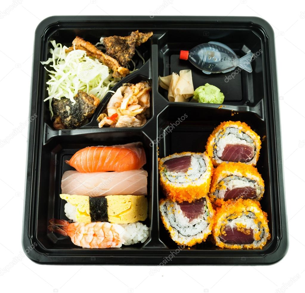 closeup of sushi in a japanese lunch box bento sushi bento stock photo zyphyrus 35535977. Black Bedroom Furniture Sets. Home Design Ideas