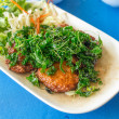 Thai Food Fish Cake (Tod Mun Pla) and Fried Vegetable — Stockfoto