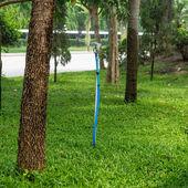 Rociadores automáticos rociando con agua en el jardín de hierba verde — Foto de Stock