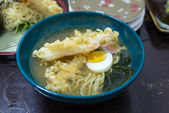 Delicious Japanese Udon noodles soup cuisine with egg — Stock Photo