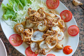 Fried or grilled squid with egg — Stock Photo