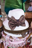 Straw weave hats with ribbon — Stock Photo
