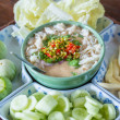Stew crab with coconut milk dip sauce with fresh vegetables — Stock Photo