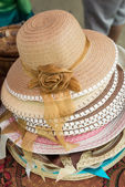 Straw weave hats with ribbon — Zdjęcie stockowe
